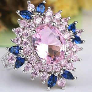 🎀925 Topaz and Pink Tourmaline Flower Ring